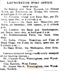 1857-10-08 Launceston examiner tasmania - wreningham mail