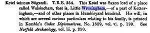 analysis of domesday book - norfolk - wreningham - 1
